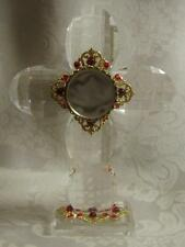 Crystal Cross Reliquary-White Velvet-Brass Accents-Red Gems-BEAUTIFUL!