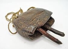 Original Antique Wooden Cow Bell Hard Wood Tribal Ethnic Hand Carved