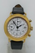 Le Cheminant  chronograph date, gold plated, glass back and front, circa 1990 -