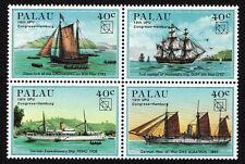 PALAU, SCOTT # 51-54, EXPLORER SHIPS & BOATS, BLOCK OF 4 STAMPS, 1984, MINT NH