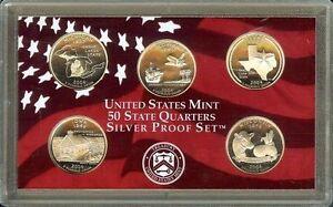 """2004-S   STATE QUARTERS COMMEMORATIVE """"S-PROOF""""  90% SILVER Set, US Mint Case"""