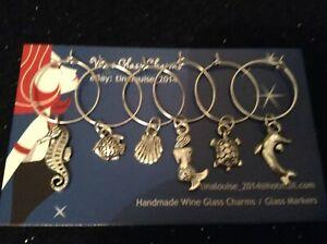 Wine Glass Charms - Set of 6 - Sea Life (Mermaid, Seahorse, Turtle, Fish, Shell)