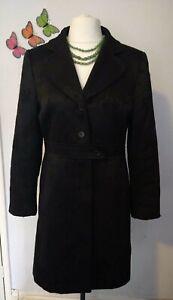 House of Fraser black jacquard damask coat UK 16 66% wool reefer 3/4 length