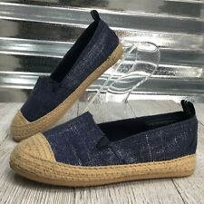 Nautica Girls Denim Espadrille Cap Toe Slip On Flat Shoe Size 8C