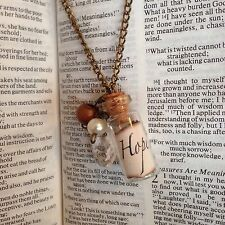 Handmade MESSAGE IN A BOTTLE NECKLACE cute GLASS jar IRIDESCENT bubbles FAB!