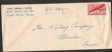 1949 military cover CWO Frank Yates 41 Armored Inf Bn Camp Hood TX to Meriden CT