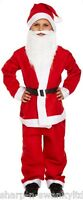 Boys 5 Pc Santa Claus Father Christmas Suit Fancy Dress Costume Outfit + Beard