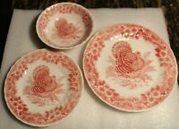 Thanksgiving Red and White Turkey Queen's Myott 3 piece place setting!