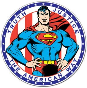 Superman Truth Justice The American Way 300mm round metal wall sign (sf)