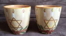 2 Starbucks Coffee Mug Cup Hanukkah Star of David Hand Painted Made In Italy