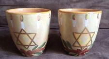 2 Starbucks Coffee Mug Cup Hanukkah Star of David Hand Painted Made In Italy