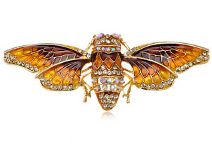 Egyptian Cicada Moth Crystal Rhinestone Enamel Paint Golden Bug Pin Brooch Gift