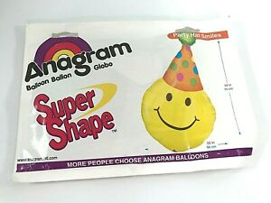 "Vintage Anagram Super Shape Large Big Yellow Smiley Face Balloon Mylar 22X39"""