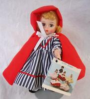 """Vintage Madame Alexander Red Riding Hood 7.5"""" Doll Box Tag Stand Striped #482"""