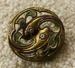 Ex rare antique JUGENDSTIL brass Cold Painted floral Buttton, Ca., 1905-1918.