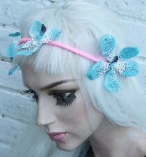BLUE FLOWER FAIRY FESTIVAL INDIE GRUNGE HAIR FOREHEAD STRETCHED HEAD BAND