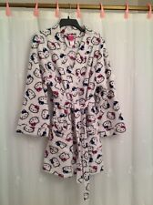 NEW Hello Kitty Women's Bathrobe Size S/M White Background with Pink/Blue/Black