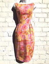 Vintage 1950s dress cocktail wiggle tulip floral pink orange Continentals 8