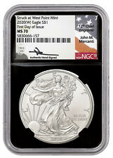2020-(W) S$1 1OZ AMERICAN SILVER EAGLE NGC MS70 FDI MERCANTI SIGNED - WEST POINT