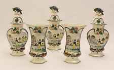 Antique Vases French Set 5 polychrome pottery  QUIMPER Vases