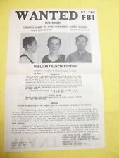 NOTORIOUS & INFAMOUS BANK ROBBER WILLIE SUTTON FBI WANTED POSTER *PLS OFFER*