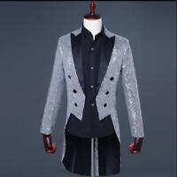 2019 Men's Tuxedo Bling Sequins Suit Jackets Formal Tail Coats Evening 5 Colors