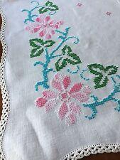 Vintage Linen Table Runner Dresser Scarf Pink Blue Flowers Crocheted Edges