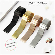 0.6mm Wire Milanese Loop Watch Strap 22mm Mesh Band Double-lock Clasp 10mm-24mm