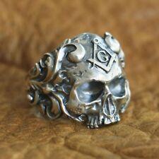 Handmade 925 Sterling Silver Masonic Skull Ring Mens Biker Gothic Ring TA116 4PX