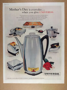 1958 Universal Coffeematic Toaster Griddle Waffle Maker Fry Pan vintage print Ad
