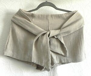 Moon River Shorts Mini Linen Blend Tan Tie Waist Full Lined Size M