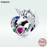 Voroco S925 Sterling Silver Pendant Unicorn Charm For Women Bracelet Necklace