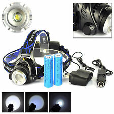 10000LM LED Focus Headlight Head Lamp Zoom + 2Pcs Batteries + Charger