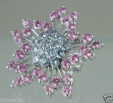 WOMAN'S RING SILVER PLATED HUGE STATEMENT FLOWER/STAR PINK/LAVENDER RHINESTONE