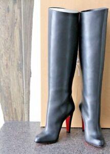 NIB CHRISTIAN LOUBOUTIN BLK MARMARA BOTTA 100 CALF OPERA KNEE HIGH BOOT Shoes 36