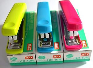 MAX STAPLE HD-10N WITH STAPLE REMOVER HOOK IN 3 COLOURS (1000 STAPLE PINS EACH)