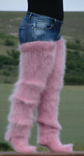 FUZZY Hand knitted Long Mohair socks ROSE ASH COLOR stockings leg warmers soft