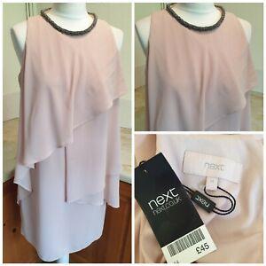 A17. Next Pink Chiffon Feel Layer Dress With Beaded Neckline Size 14 BNWT