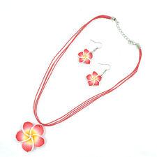 Red Beautiful Flower  Lovely Girl&Lady Hawaiian Necklace Earrings Jewelry Set