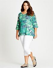 Autograph Plus Size 18 Green Blue Cold Shoulder 3/4 Sleeve Tunic Top Fits 22 NWT