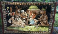 VINTAGE DOGS PLAYING BILLIARDS POOL TAPESTRY WALL HANGING CARPET AREA RUG 70X46