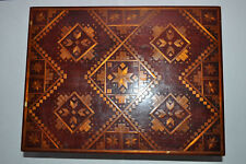 ANTIQUE veneer hand made Wood MARQUETRY inlay trinket box jewelery