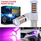 GLOFE 92SMD LED 7443 Brake Stop|Backup Reverse Light Bulbs 14000K Pink Purple