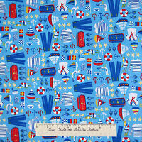Nautical Fabric - Sea Gull Anchor Buoy Sailboat Blue -Timeless Treasures YARD