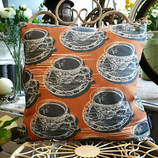 Warm Rust Double Sided Teacup & Saucer Cushion - Created in the UK by thetinkan