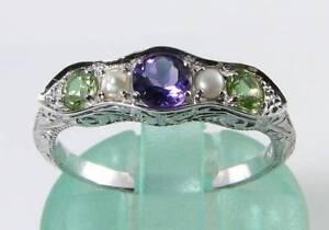 SUFFRAGETTE 9CT 9K WHITE GOLD  AMETHYST PERIDOT PEARL ETERNITY ART DECO INS RING
