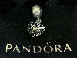 Authentic Pandora Two Tone Gold and Silver Heart Dangle Charm