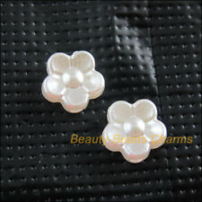 100Pcs White Plastic Acrylic Flower Star Spacer Bead Charms 8.5mm