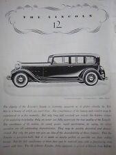 1932 Vintge Lincoln 12 Cylinder 7 Passenger Sedan Car Ad