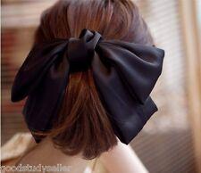 Fashion Korean Women Black Satin Ribbon Bow Hair Clips Barrette Ponytail Holder